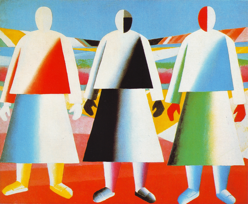 Girls in the Field, 1928-32. Oil on canvas. 106 x 125 cm. From: http://www.wikipaintings.org/en/kazimir-malevich/girls-in-the-fields-1932.