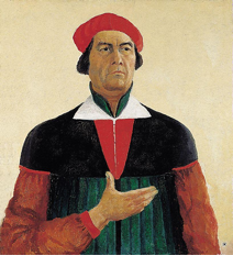 Self-Portrait, 1933. Oil on canvas, 73 x 66 cm. From: http://www.wikipaintings.org/en/kazimir-malevich/self-portrait-1933.